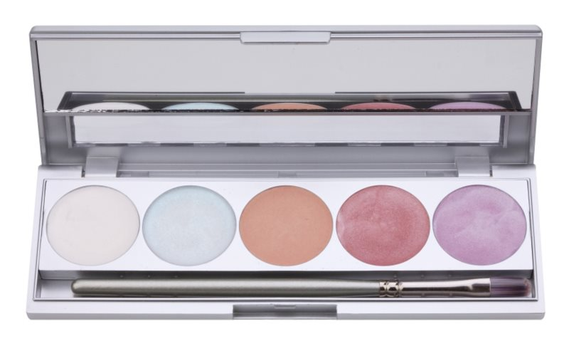 Kryolan Basic Face & Body Face and Body Highlighter Palette, 5 Shades With Mirror And Applicator