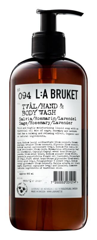 L:A Bruket Body folyékony szappan salviával, rozmaringgal és levendulával a kezekre és a testre