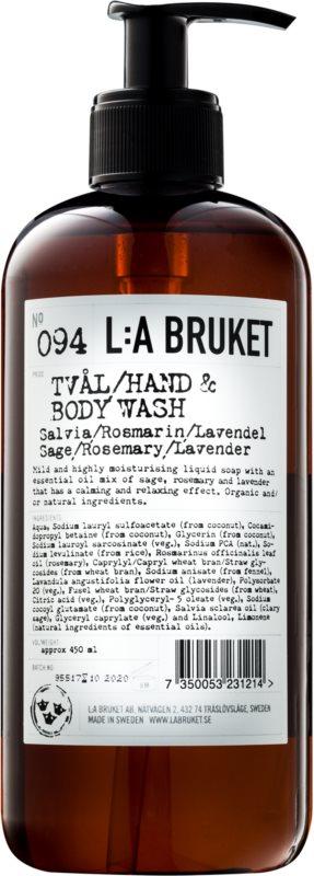 L:A Bruket Body υγρό σαπούνι με φασκόμηλο, δεντρολίβανο και λεβάντα για χέρια και σώμα