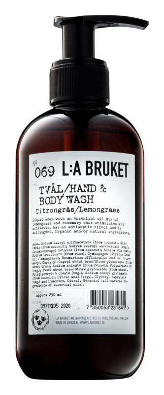 L:A Bruket Body Lemongrass Liquid Soap for Hands and Body