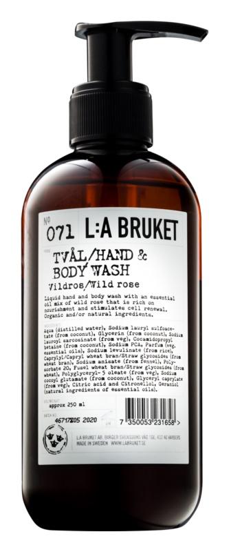 L:A Bruket Body tekuté mýdlo s divokou růží na ruce a tělo