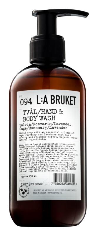 L:A Bruket Body tekuté mydlo so šalviou, rozmarínom a levanduľou na ruky a telo