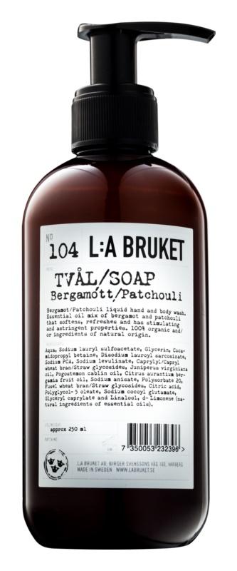 L:A Bruket Body tekuté mydlo s bergamotom a pačuli na ruky a telo