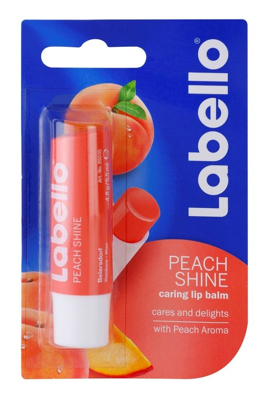 Labello Peach Shine baume à lèvres teinté arôme pêche