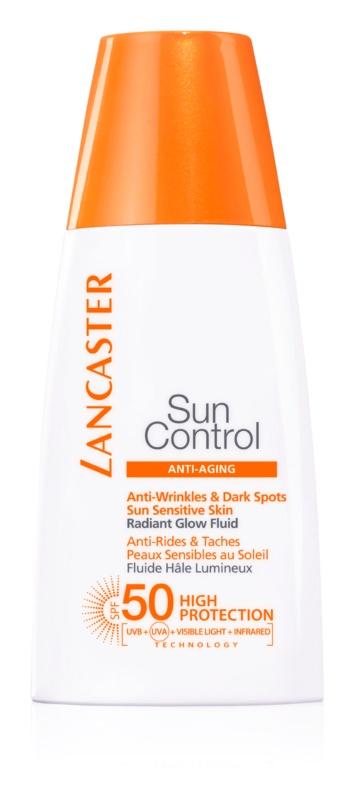 Lancaster Sun Control rozjasňujúci protivráskový opaľovací fluid SPF 50