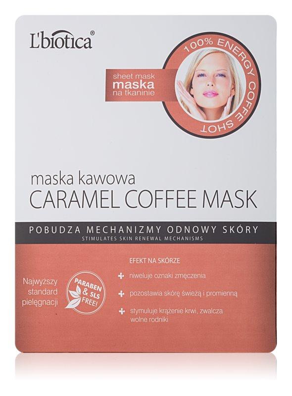 L'biotica Masks Caramel Coffee maska iz platna z osvežilnim učinkom