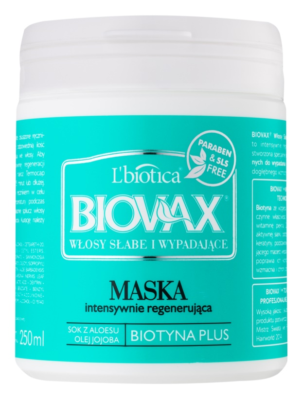 L'biotica Biovax Falling Hair maska za okrepitev las proti izpadanju las