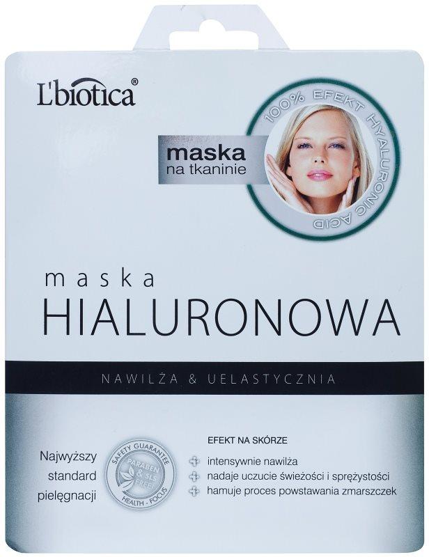 L'biotica Masks Hyaluronic Acid plátenná maska s hydratačným a vyhladzujúcim účinkom