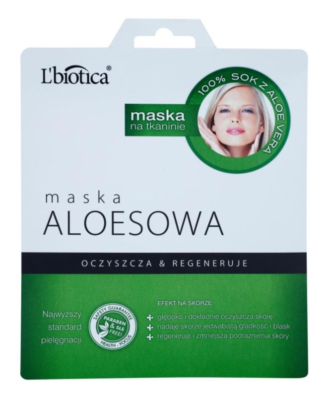 L'biotica Masks Aloe Vera plátenná maska s regeneračným účinkom