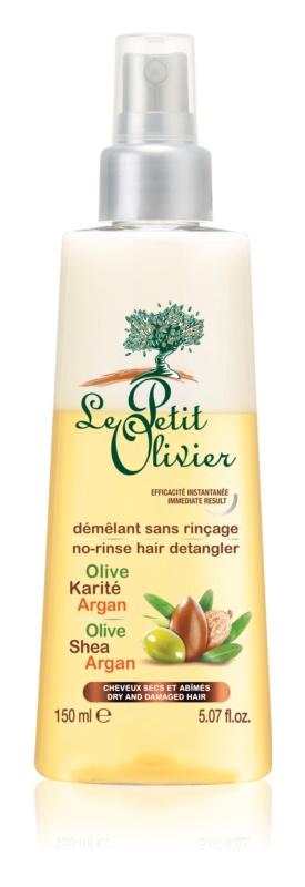 Le Petit Olivier Olive, Shea & Argan balzam brez spiranja v pršilu za suhe in poškodovane lase