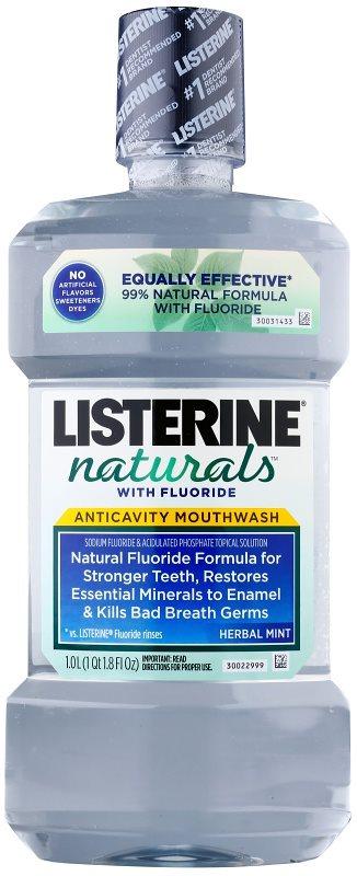 Listerine Naturals Herbal Mint enjuague bucal antiséptico  con fluoruro