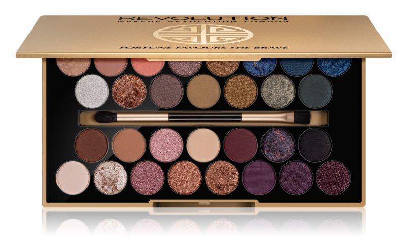 Makeup Revolution Fortune Favours the Brave szemhéjfesték paletta tükörrel és aplikátorral