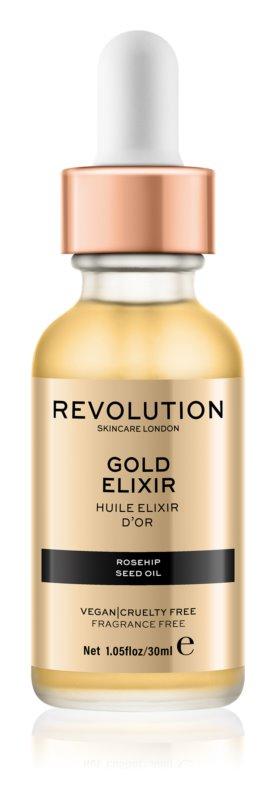 Makeup Revolution Skincare Gold Elixir pleťový elixír so šípkovým olejom