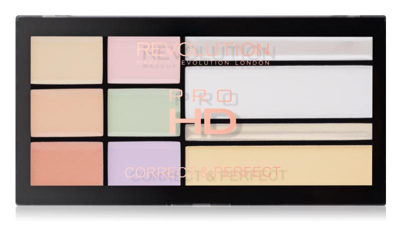 Makeup Revolution Pro HD Correct & Perfect палетка коректорів з ефектом сяйва