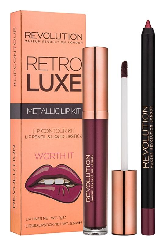 Makeup Revolution Retro Luxe metalická sada na pery