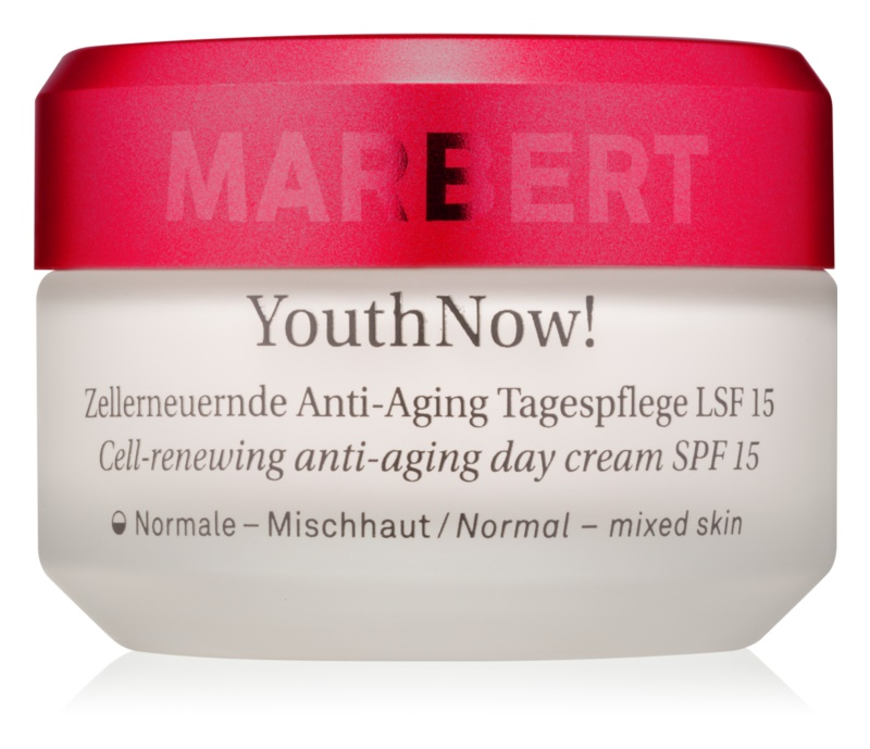 Marbert Anti-Aging Care YouthNow! Cell-Renewing Anti-Aing Day Cream for  Normal to Mixed Skin SPF 15