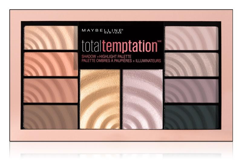 Maybelline Total Temptation paleta očních stínů a rozjasňovačů
