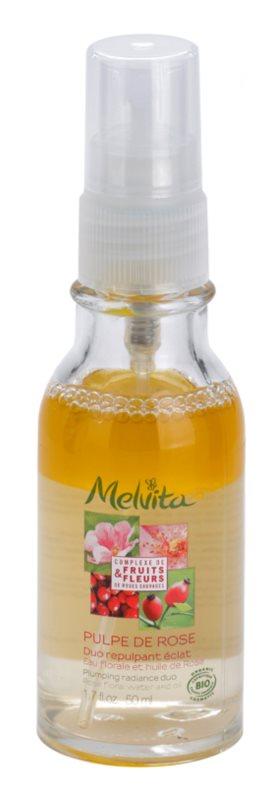 Melvita Pulpe de Rose dvojzložkové sérum pre rozjasnenie a vyhladenie pleti