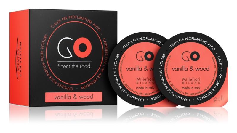 Millefiori GO Vanilla & Wood Auto luchtverfrisser  2 st Vervangende Vulling