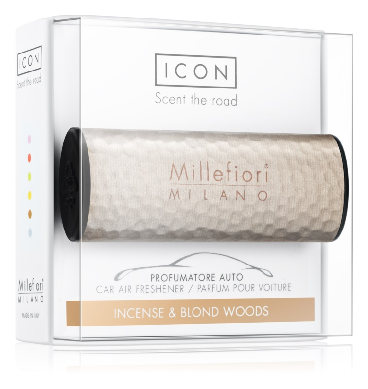 Millefiori Icon Incense & Blond Wood parfum pentru masina   Hammered Metal