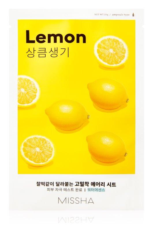 Missha Airy Fit Lemon maska iz platna za posvetlitev in vitalnost kožo