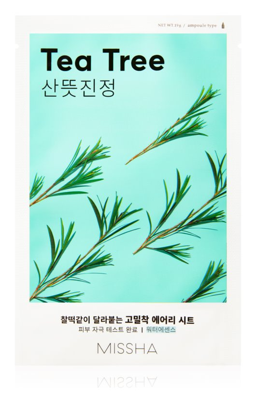 Missha Airy Fit Tea Tree maska iz platna s čistilnim in osvežilnim učinkom za občutljivo kožo
