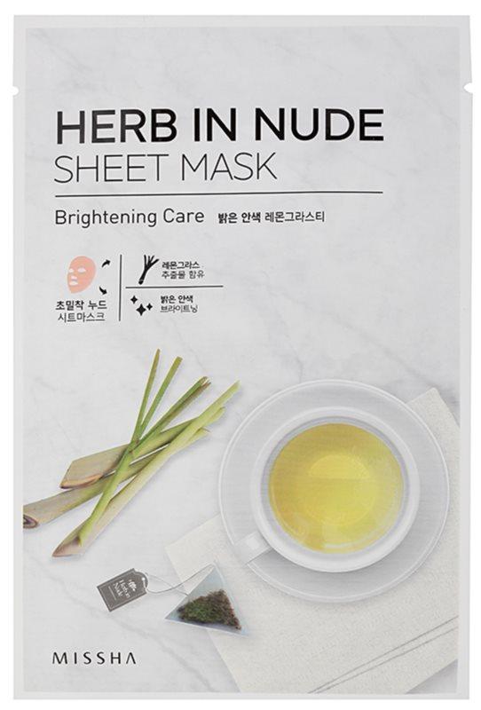 Missha Herb in Nude plátenná maska s rozjasňujúcim účinkom