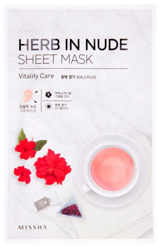 Missha Herb in Nude Máscara de tejido para iluminar y dar vitalidad a la piel