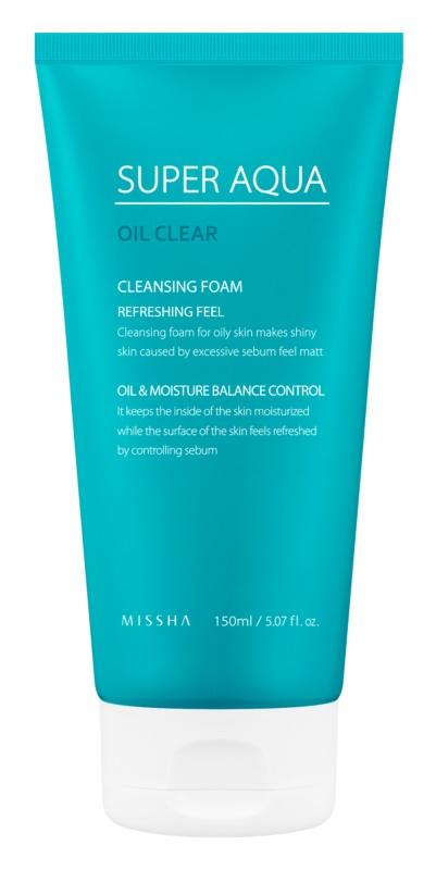 Missha Super Aqua Oil Clear mousse nettoyante rafraîchissante visage