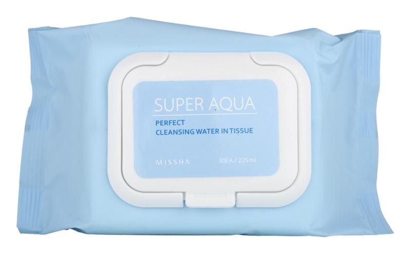 Missha Super Aqua Perfect tisztító papírtörlők az arcra hidratáló hatással