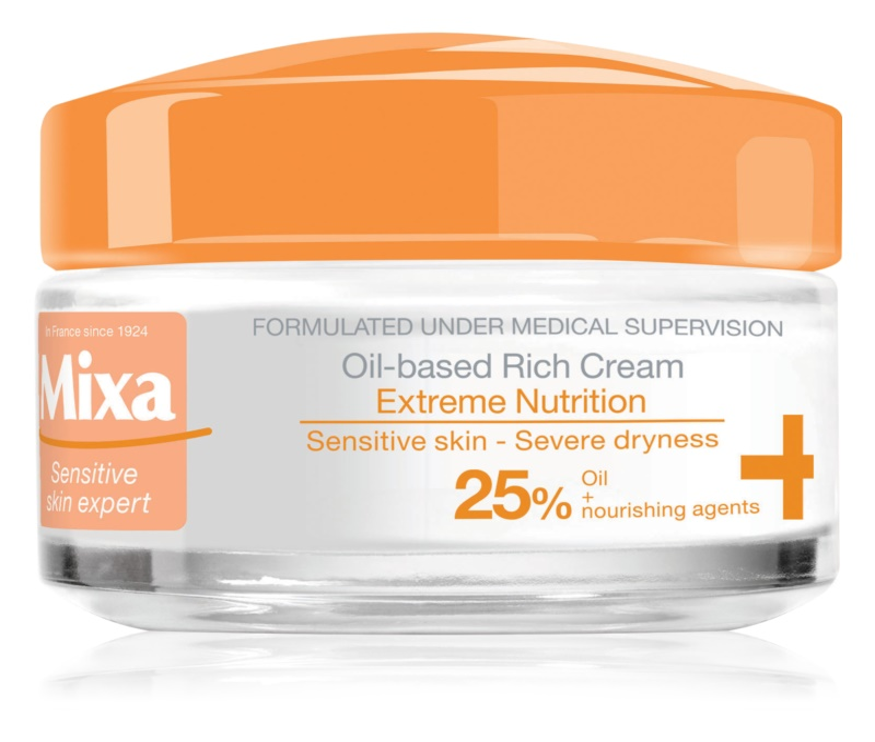 MIXA Extreme Nutrition bogata vlažilna krema s svetlinovim oljem