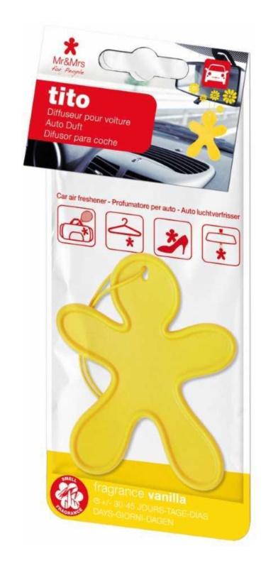 Mr & Mrs Fragrance Tito Yellow Vanilla odświeżacz do samochodu    (Vanilla)