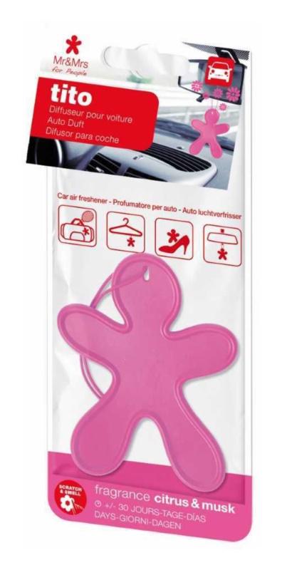 Mr & Mrs Fragrance Tito Pink Citrus Musk Auto luchtverfrisser     (Citrus & Musk)