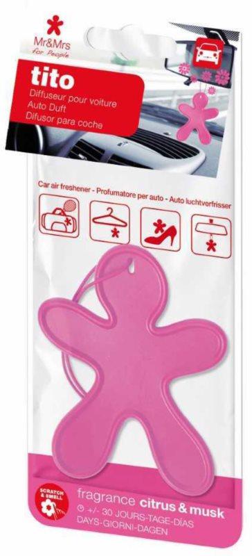 Mr & Mrs Fragrance Tito Pink Citrus Musk odświeżacz do samochodu    (Citrus & Musk)