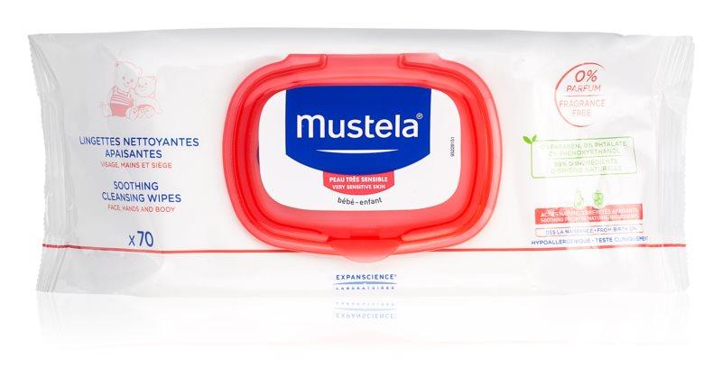 Mustela Bébé успокояващи почистващи кърпички за деца