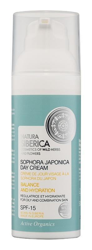 Natura Siberica Sophora Japonica Feuchtigkeit spendende Tagescreme für fettige und gemischte Haut LSF 15