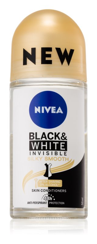 Nivea Invisible Black & White Silky Smooth deodorant roll-on antiperspirant fara alcool