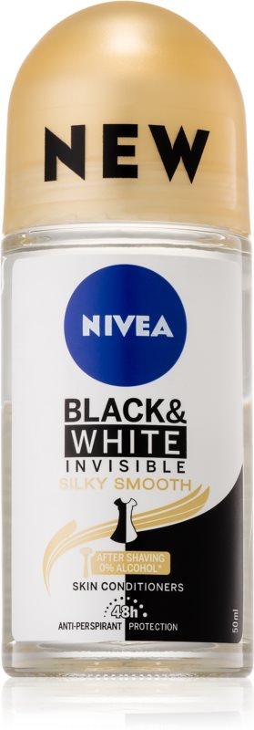 Nivea Invisible Black & White Silky Smooth guličkový antiperspirant bez alkoholu