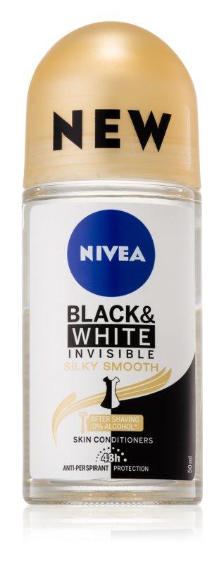 Nivea Invisible Black & White Silky Smooth кульковий антиперспірант без алкоголя