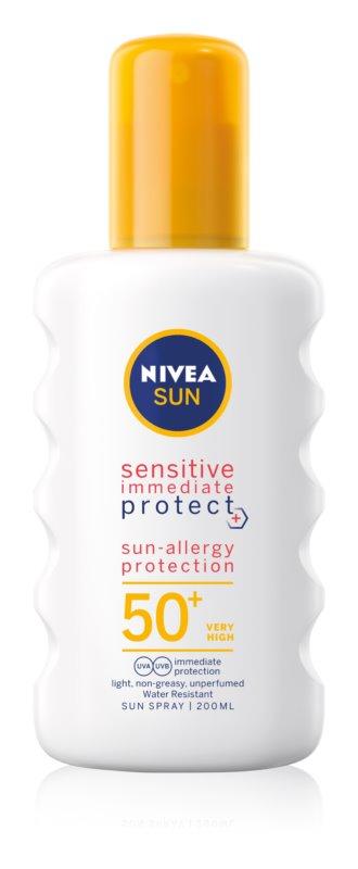 Nivea Sun Protect & Sensitive ochranný sprej na opaľovanie SPF 50+