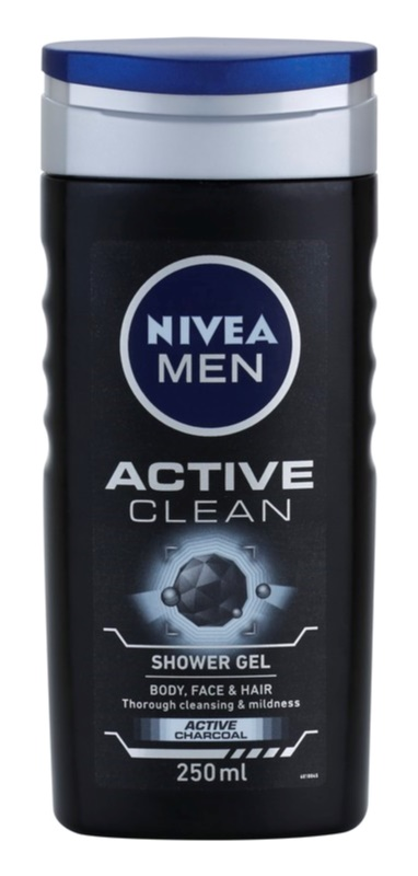 Nivea Men Active Clean Shower Gel for Face, Body, and Hair for Men