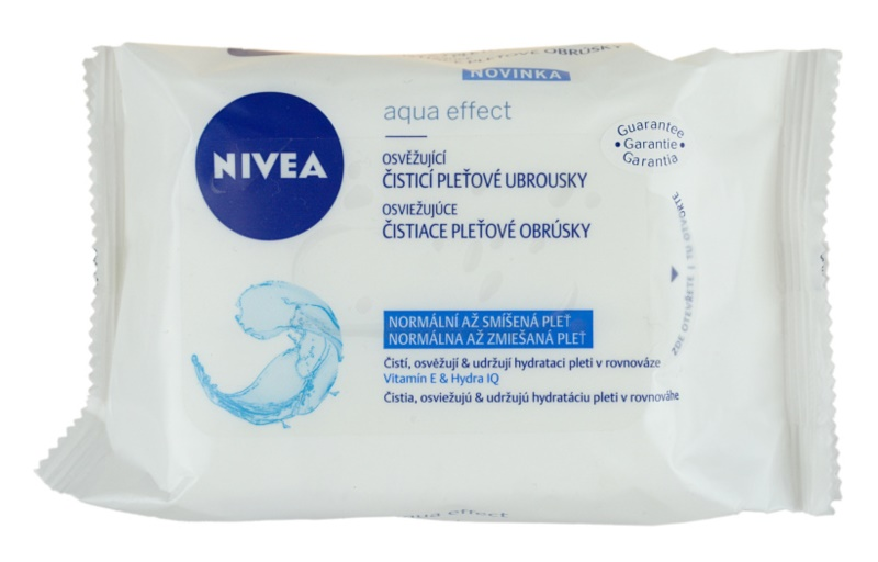 Nivea Aqua Effect osvěžující čisticí pleťové ubrousky pro normální až smíšenou pleť