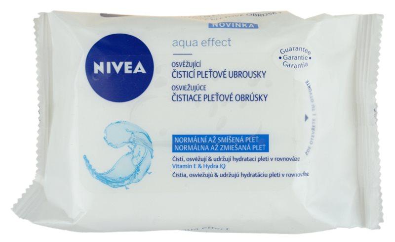Nivea Aqua Effect reinigende Erfrischungstücher für normale Haut und Mischhaut