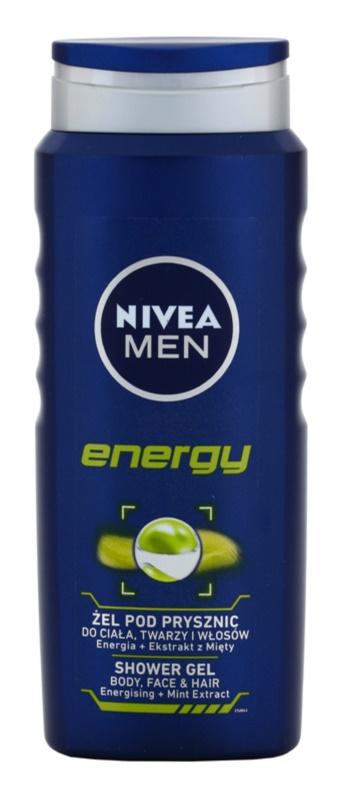 Nivea Men Energy gel de ducha para rostro, cuerpo y cabello