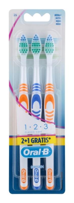 Oral B 1-2-3 Classic Care escovas de dentes média 3 pçs