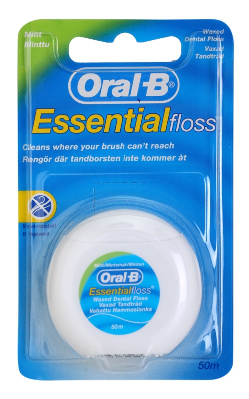 Oral B Essential Floss восъчен конец за зъби с вкус на мента