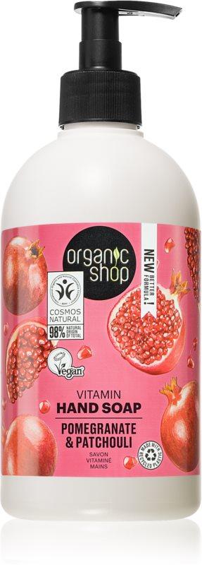 Organic Shop Organic Pomegranate & Patchouli Ošetrujúce tekuté mydlo na ruky  s pumpičkou