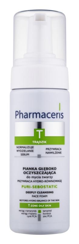 Pharmaceris T-Zone Oily Skin Puri-Sebostatic mousse de limpeza para pele desidratada e irritada por tratamento antiacneico