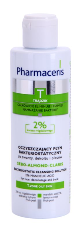 Pharmaceris T-Zone Oily Skin Sebo-Almond-Claris antibakteriální čisticí voda na obličej, dekolt a záda pro problematickou pleť