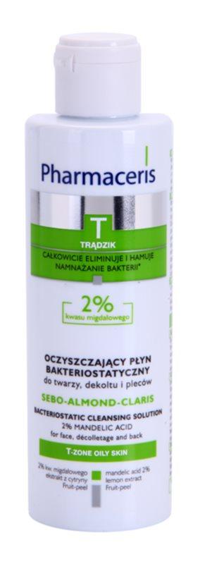 Pharmaceris T-Zone Oily Skin Sebo-Almond-Claris čisticí voda na obličej, dekolt a záda pro problematickou pleť